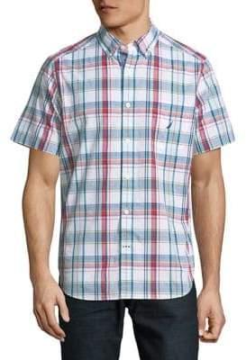 Nautica Short-Sleeve Large Scale Plaid Cotton Sport Shirt