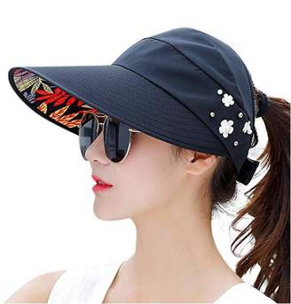 48e584485f8 Jiuhexu Visor Hats Wide Brim Cap UV Protection Summer Sun Hats for Women