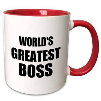 Boss Black 3dRose Worlds Greatest text. great design for the best boss ever - Two Tone Red Mug, 11-ounce