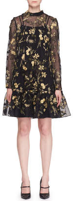 Erdem Cosima Cape-Back Floral Embroidered Organza Trapeze Dress