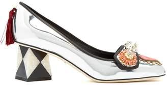Crystal-embellished appliqué leather pumps