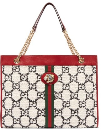 Gucci Rajah Large Gg Jacquard Tweed And Leather Tote Bag - Womens - White Multi