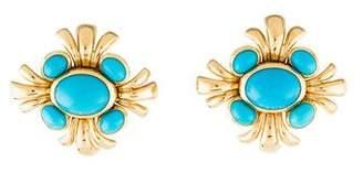 Verdura 18K Turquoise Clip-On Earrings