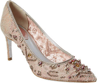 Rene Caovilla Pearl Embellished Lace Court Pump