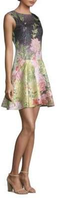 Josie Natori Bop Printed Jacquard Ruffle Dress