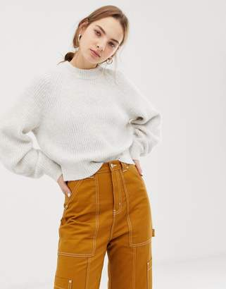 Weekday knitted sweater in off white