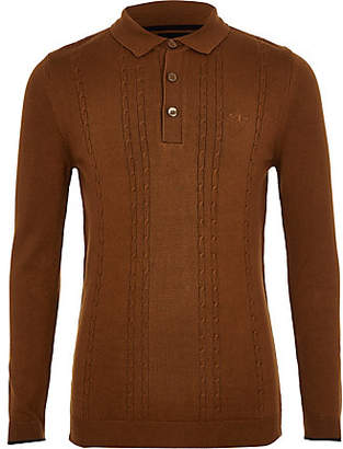 River Island Boys brown cable knit long sleeve polo shirt