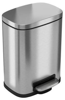 iTouchless Softstep 5 Liter Stainless Steel Step Trash Can, 1.32 Gallon Small Pedal Bathroom Trash Can, Perfect for Office and Bathroom