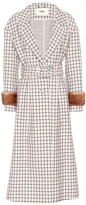 Fendi Fur-trimmed plaid wool coat