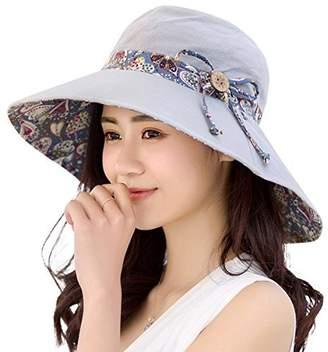 6fdab682ae4 Womens Sun Hat Hindawi Summer Reversible UPF 50+ Beach Hat Foldable Wide  Brim Cap