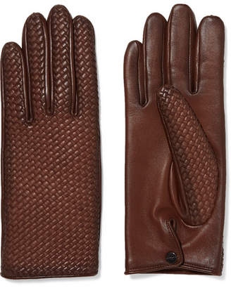 Agnelle Woven Leather Gloves - Brown