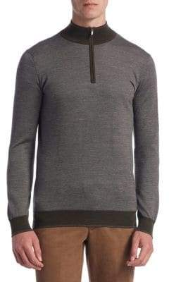 Saks Fifth Avenue COLLECTION Diamond Merino Wool Quarter-Zip Shirt
