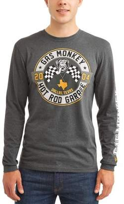 Automotive Gas Monkey Men's Long Sleeve Graphic T-shirt, up to Size 2XL