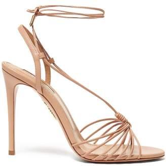 Aquazzura Whisper 105 Leather Sandals - Womens - Nude