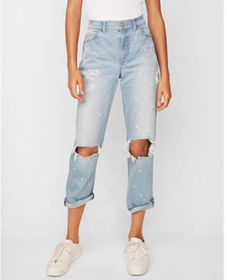 Express petite high waisted flower destroyed original girlfriend jeans