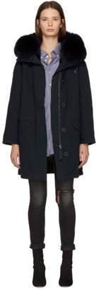 Yves Salomon Army Navy and Black Multi Fur Classic Long Parka