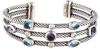 David Yurman Topaz, Iolite & Diamond Three-Row Confetti Cuff