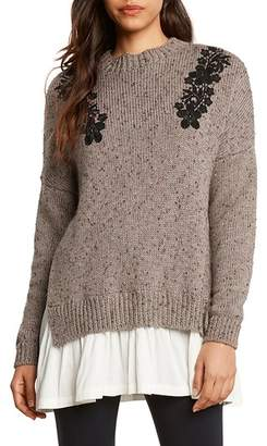 Willow & Clay Applique Poplin Trim Sweater