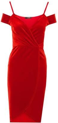 Quiz Red Velvet Wrap with Cold Shoulder Dress