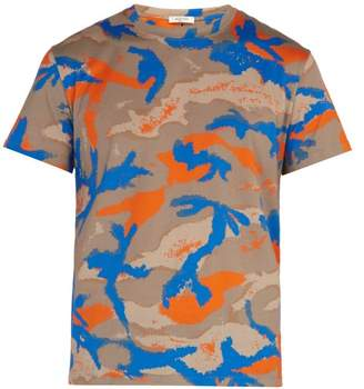 Valentino Camouflage Print Cotton T Shirt - Mens - Orange Multi