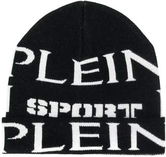 9863a9f68a0ddf Plein Sport logo embroidered beanie hat