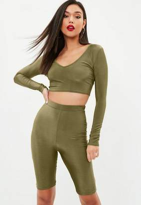 Missguided Khaki Long Sleeve Plunge Crop Top