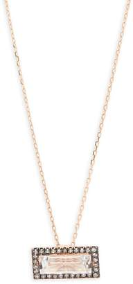 Suzanne Kalan Women's White Topaz, Diamond and 14K Rose Gold Pendant Necklace