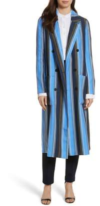 Diane von Furstenberg Stripe Long Silk Jacket