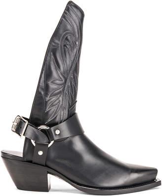 R 13 Tall Half Harness Cowboy Boot in Black | FWRD