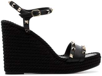 Valentino black Garavani Rockstud 120 espadrille wedge leather sandals