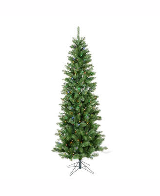 Vickerman 7.5' Salem Pencil Pine Artificial Christmas Tree with 350 Multi-Colored Led Lights