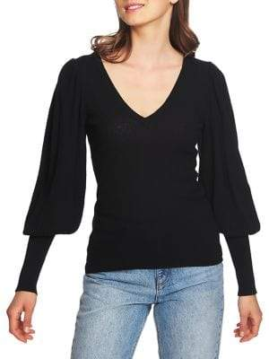 1 STATE 1.STATE V-Neck Blouson Sleeve Ribbed Sweater