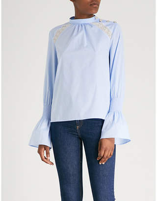 Claudie Pierlot Floral-lace panel cotton top