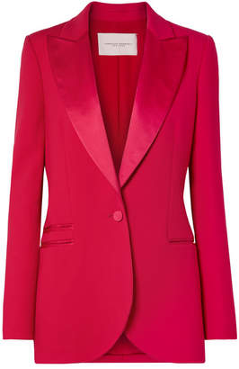 Carolina Herrera Satin-trimmed Wool-blend Tuxedo Blazer - Red