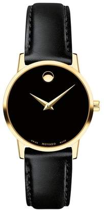 Movado Leather Strap Watch, 28mm