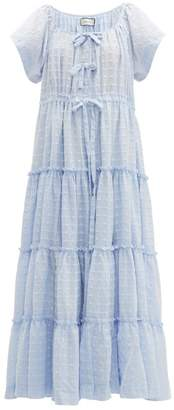 Innika Choo Alotta Gud Tiered Cotton Maxi Dress - Womens - Blue