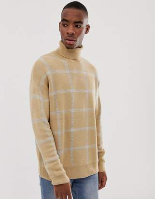 Bershka knitted roll neck sweater in camel with gray check