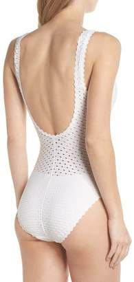 Robin Piccone Eyelet Tank One-Piece Swimsuit