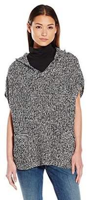 James & Erin Women's Marled Hooded Poncho Sweater