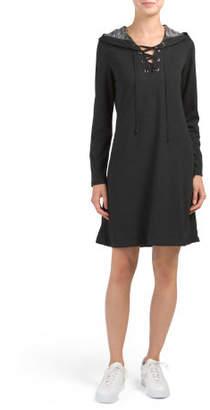 Long Sleeve Hooded Knit Dress