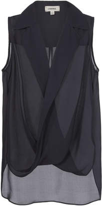 L'Agence Freja Crossover Draped Blouse