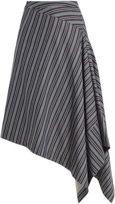 Palmer Harding PALMER/HARDING Draped-front striped cotton-blend skirt