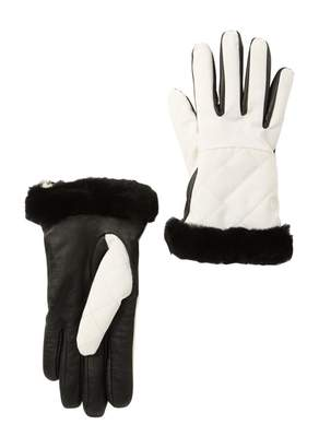 UGG Water Resistant Touchscreen Quilted Nylon, Leather, & Genuine Shearling Gloves