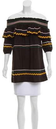 Red Carter Embroidered Off-The-Shoulder Tunic