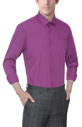 Verno Men's Classic Fashion Fit Long Sleeve Grape Color Dress Shirt