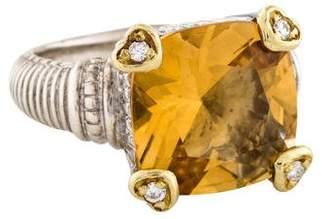 Judith Ripka Citrine & Diamond Fontaine Ring