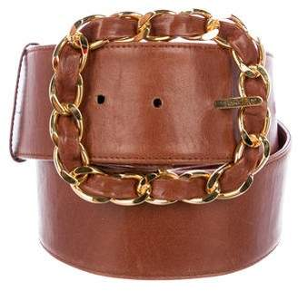 Chanel Wide Leather Chain-Link Belt