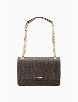 Calvin Klein Chain Link Bag Shoulder Bag Brn Khk/Lugg