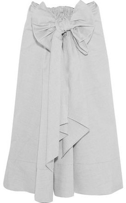 Tome Bow-Embellished Cotton Midi Skirt