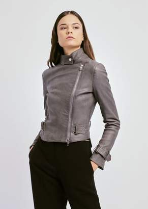 b03d19a5034a Emporio Armani Biker Jacket In Nappa Leather With Adjustable Belt At The  Waist